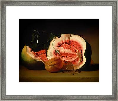 Melon And Morning Glories Framed Print by Mountain Dreams