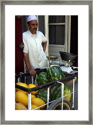 Melon Seller Old Medina Fez Morocco Framed Print by Ralph A  Ledergerber-Photography