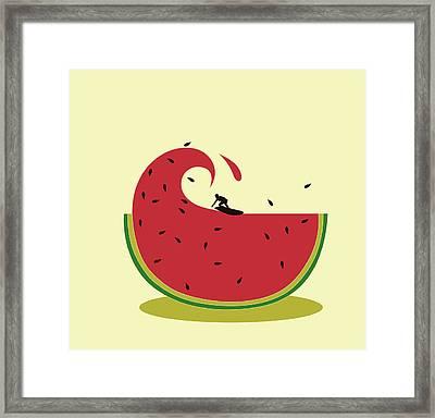 Melon Splash Framed Print by Neelanjana  Bandyopadhyay