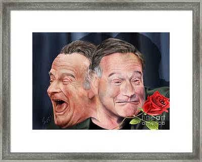 Melpomene And Thalia The Duality Of Robin Williams Framed Print by Reggie Duffie