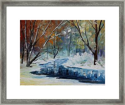 Lost In Winter - Palette Knife Oil Painting On Canvas By Leonid Afremov Framed Print by Leonid Afremov