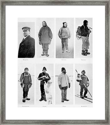 Members Of The British Antarctic Expedition At The Start Of The Journey Framed Print by English School