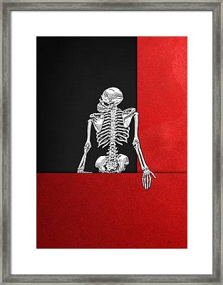 Memento Mori - Silver Human Skeleton On Red And Black Canvas Framed Print by Serge Averbukh