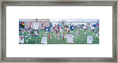 Mementos On Chain Link Fence, Memorial Framed Print by Panoramic Images