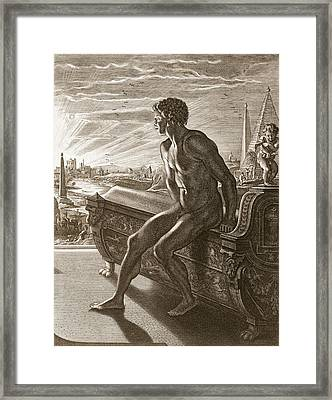 Memnons Statue, 1731 Framed Print by Bernard Picart