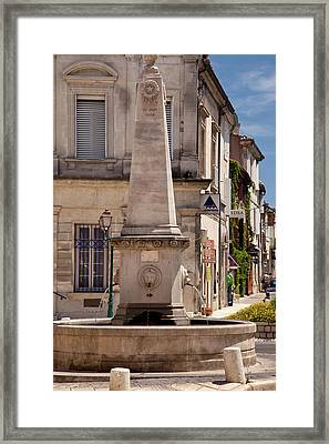 Memorial Fountain In Saint Remy Framed Print by Brian Jannsen