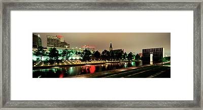 Memorial Lit Up At Dusk, Oklahoma City Framed Print by Panoramic Images