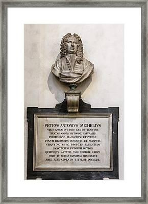 Memorial To Petrus Antonius Michelius Framed Print by Brian Gadsby