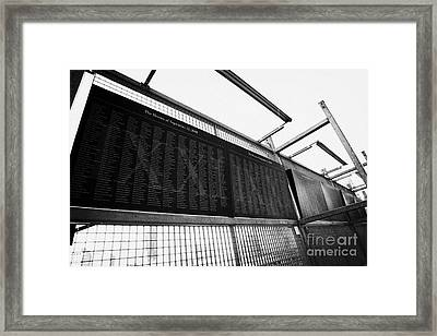 Memorial Wall With Names Of Nine Eleven Victims On The Fence At World Trade Center Ground Zero Framed Print by Joe Fox