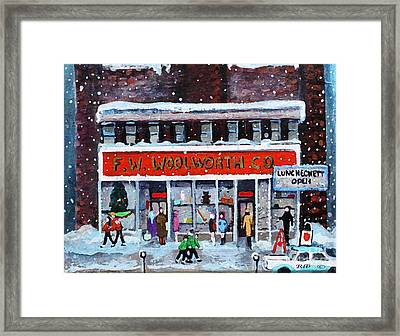 Memories Of Winter At Woolworth's Framed Print by Rita Brown