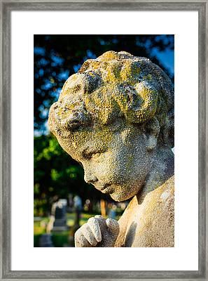 Memphis Elmwood Cemetery - Boy Angel Vertical Framed Print by Jon Woodhams