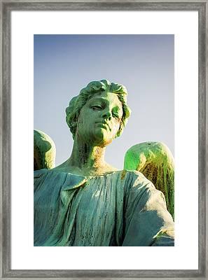 Memphis Elmwood Cemetery - Patinated Angel Framed Print by Jon Woodhams
