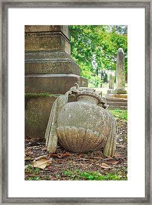 Memphis Elmwood Cemetery Monument - Fallen Framed Print by Jon Woodhams