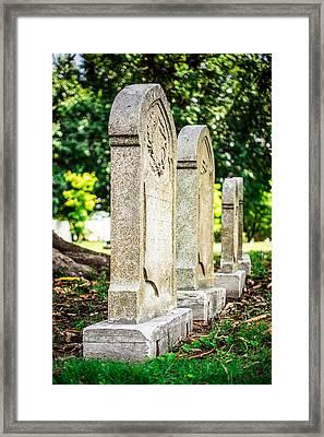 Memphis Elmwood Cemetery Monument - Four In A Row Framed Print by Jon Woodhams