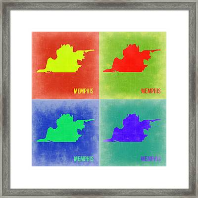 Memphis Pop Art Map 2 Framed Print by Naxart Studio
