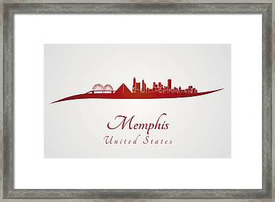 Memphis Skyline In Red Framed Print by Pablo Romero