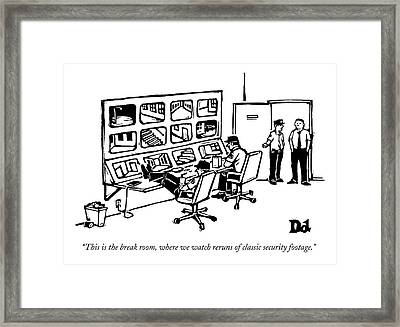 Men Congregate In A Room Full Of Security Tapes Framed Print by Drew Dernavich