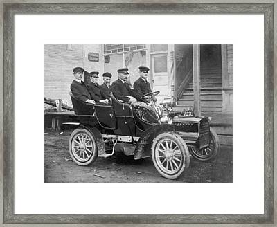 Men In An Early Auto Framed Print by Underwood Archives