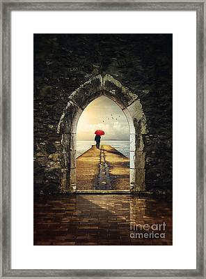 Men In Pier Framed Print by Carlos Caetano