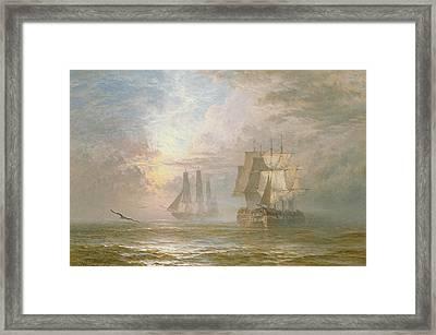 Men Of War At Anchor Framed Print by Henry Thomas Dawson