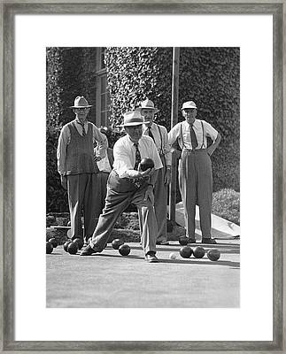 Men Playing Bocce Ball Framed Print by Underwood Archives