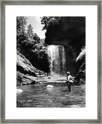 Men Trout Fishing Framed Print by Retro Images Archive