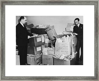 Men With Piles Of Mail Framed Print by Underwood Archives