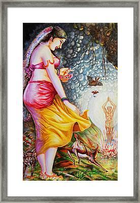 Menaka On Verge Of Breaking Vishwamitra Meditation Framed Print by Arun Sivaprasad