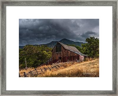 Mendon Utah Barn In Storm Framed Print by Gary Whitton