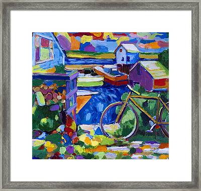 Menemsha At The Top Of The Stairs Framed Print by Michael Phelps Morse