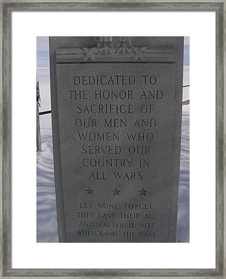 Menominee Memorial Framed Print by Jonathon Hansen
