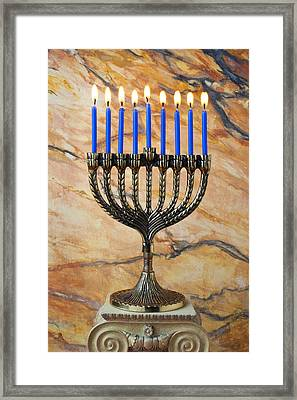 Menorah With Blue Candles Framed Print by Garry Gay