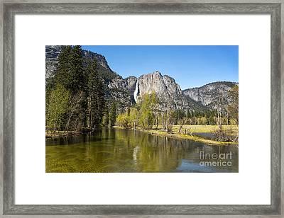Merced River And Yosemite Falls Framed Print by Jane Rix