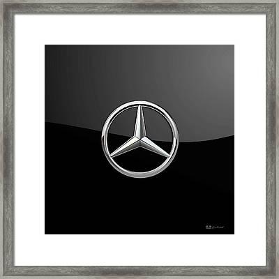 Mercedes-benz - 3d Badge On Black Framed Print by Serge Averbukh