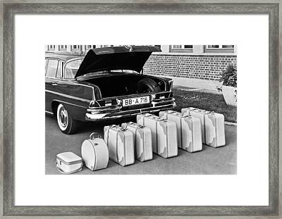 Mercedes-benz And Luggage Framed Print by Underwood Archives