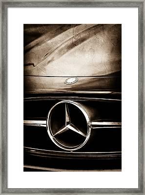 Mercedes-benz Grille Emblem Framed Print by Jill Reger