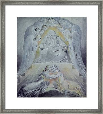 Mercy And Truth Are Met Together, Righteousness And Peace Have Kissed Each Other Framed Print by William Blake