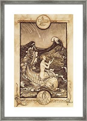 Mermaid And Dolphin From A Midsummer Nights Dream Framed Print by Arthur Rackham
