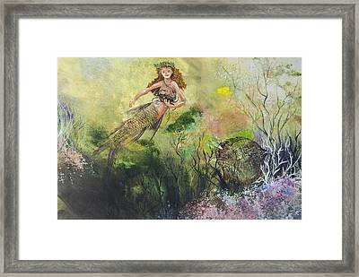 Mermaid And Friends Framed Print by Nancy Gorr