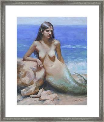Mermaid Framed Print by Anna Rose Bain