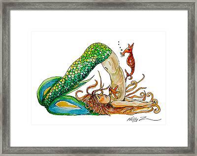 Mermaid Plow Pose Framed Print by Kelly ZumBerge