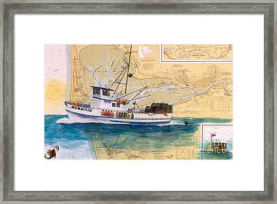 Mermaid Prawn Fishing Boat Nautical Chart Map Art Framed Print by Cathy Peek