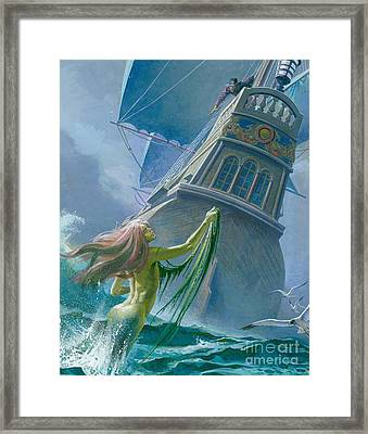 Mermaid Seen By One Of Henry Hudson's Crew Framed Print by Severino Baraldi