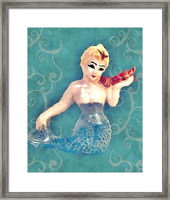 Mermaid Swirl Framed Print by Flo Karp