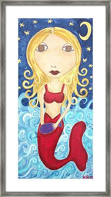 Mermaid Under The Moon Framed Print by Kerri Ambrosino GALLERY