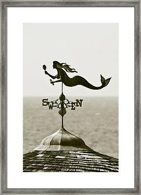 Mermaid Weathervane In Sepia Framed Print by Ben and Raisa Gertsberg