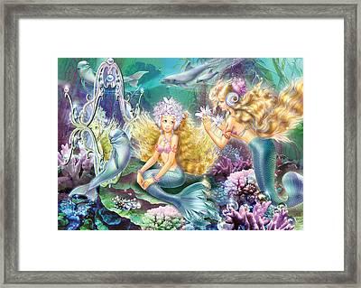 Mermaids Mirror Framed Print by Zorina Baldescu