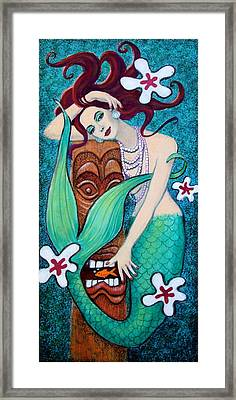 Mermaid's Tiki God Framed Print by Sue Halstenberg