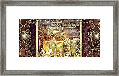 Merry Christmas Gold Framed Print by Mo T
