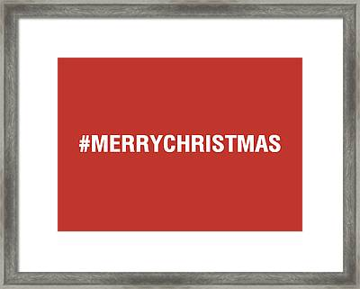 Merry Christmas Hashtag Framed Print by Linda Woods